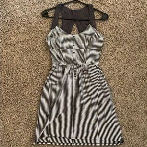 Gray & White Striped Skater Dress